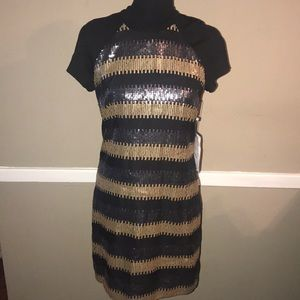 Black & Gold sequence dress- Laundry size 4